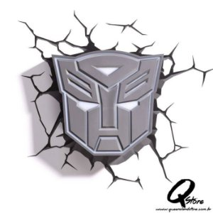 Luminária 3D Light FX Transformers Escudo Autobots