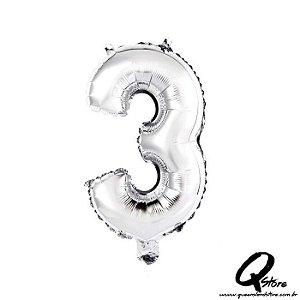 Balão Metalizado Prata Nº3 - 41cm