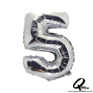 Balão Metalizado Prata Nº5 - 41cm