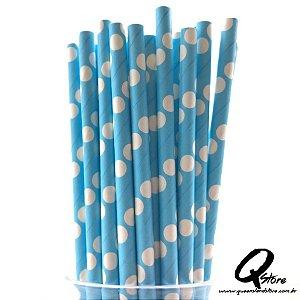 Canudos de Papel Bolinha Azul c/ 25 unid