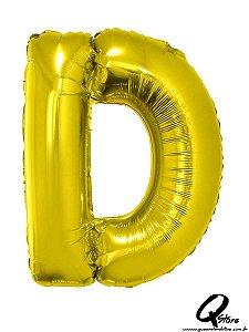Balão Metalizado Dourado Letra D- 41cm