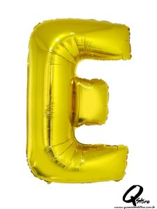 Balão Metalizado Dourado Letra E- 41cm