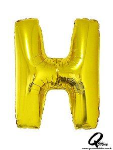 Balão Metalizado Dourado Letra H- 41cm