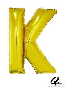 Balão Metalizado Dourado Letra K- 41cm