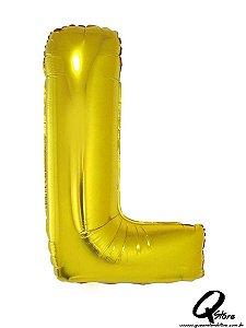 Balão Metalizado Dourado Letra L- 41cm