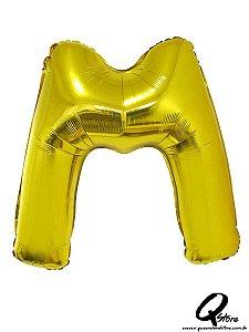 Balão Metalizado Dourado Letra M- 41cm