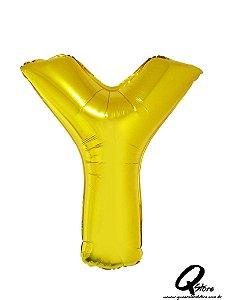 DUPLICADO - Balão Metalizado Dourado Letra X- 41cm