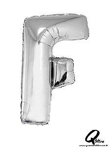 Balão Metalizado Prata Letra F- 41cm