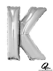 Balão Metalizado Prata Letra K - 41cm