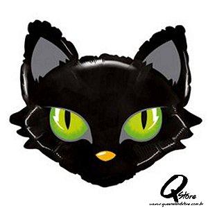 "Balão Metalizado Mighty Cat Head - Grabo Intl. - 28"" (Aprox. 71 cm)"