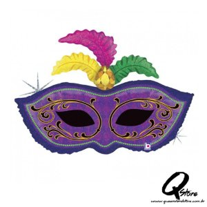 "Balão Metalizado Mardi Gras Feather Mask - Grabo Intl - 34"" (Aprox. 86 cm))"