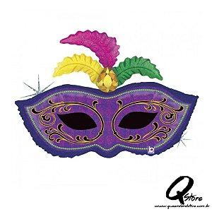 "Balão Metalizado Mardi Gras Feather Mask - Grabo Intl - 34"" (Aprox. 86 cm))"