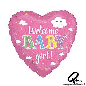"Balão Metalizado Welcome Baby Girl – Grabo - 18"" (Aprox 46 cm)"