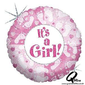 "Balão Metalizado It's a Girl Footprints - Grabo Intl - 18"" (Aprox. 45 cm)"