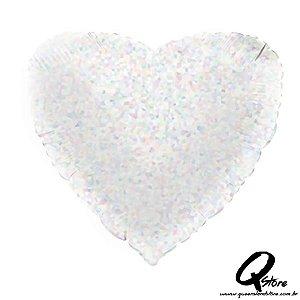 """Balão Metalizado Coração Hologlitter Prata – Grabo - 18"""" (Aprox. 45 cm)"""