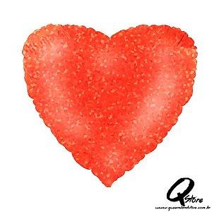 """Balão Metalizado Coração Hologlitter Vermelho – Grabo - 18"""" (Aprox. 45 cm)"""