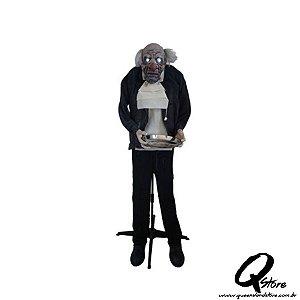 Mordomo em Pé com Luz, Som e Movimento Para o Halloween 150cm x 140cm