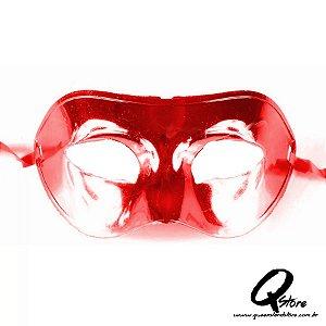 Máscara Veneziana Lisa Metalizada- Vermelha