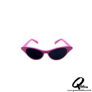 Óculos Gatinha Rosa Luxo - Lente Preta