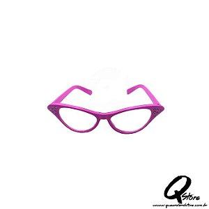 Óculos Gatinha Rosa Luxo - Lente Transparente