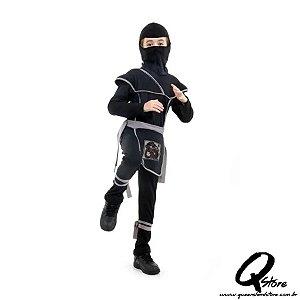 Fantasia Ninja Preto e Cinza Longo Infantil - Guerreiro Ninja P
