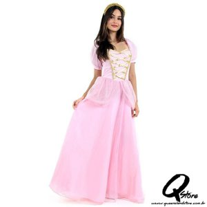 Fantasia Princesa Rosa Adulto - Era uma vez