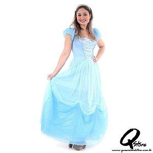 Fantasia Princesa Azul Adulto - Era uma vez