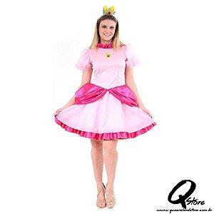 Fantasia Princesa Peach Adulto - Super Mario Tamanho P