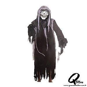 Fantasia Fantasma Caveira  c/ Máscara - Tamanho Único