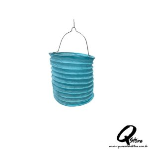 Lanterna de Papel  c/ suporte de Vela de Led  - Azul