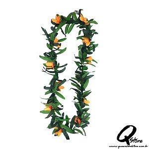 Colar Havaiano Luxo Flores Laranja- Unidade