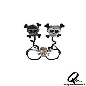 Óculos Caveira s/ Lente Prata- Plástico
