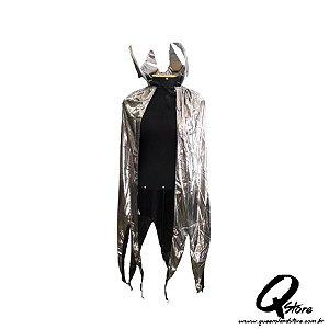 Capa de Vampiro c/ Brilho e Dentadura -Prata