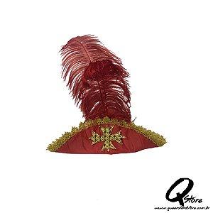 Chapéu Mosqueteiro Vermelho  - Adulto