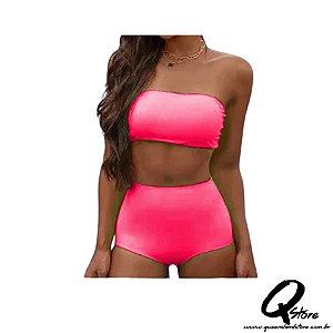 Conjunto Hot Pants c/ Bojo Neon -Rosa
