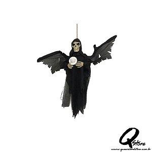 Boneco Halloween Caveira Morcego Preto  c/ movimento  - 1 Unidade
