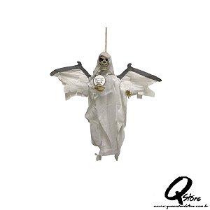 Boneco Halloween Caveira Morcego Branco c/ movimento  - 1 Unidade