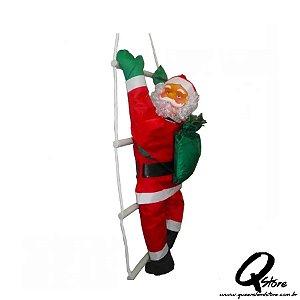 Papai Noel Subindo Escada Decoração De Natal Grande Enfeite Natalino 66cm