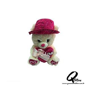 Urso de Chapéu Rosa Pelúcia c/ Musica - 32 cm