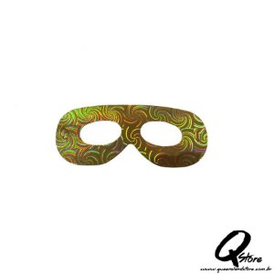 Máscara Holográfica Papel c/ 12 unid - Amarela