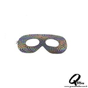 Máscara Holográfica Papel c/ 12 unid - Prata
