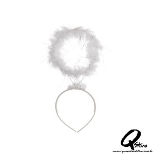 Tiara Auréola de Anjo Branco Simples