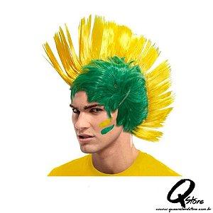 Peruca Moicano Verde e Amarelo Brasil