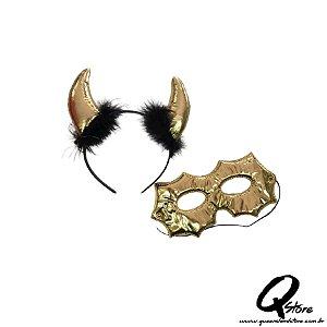 Kit Máscara c/ Tiara Diabinho - Dourado