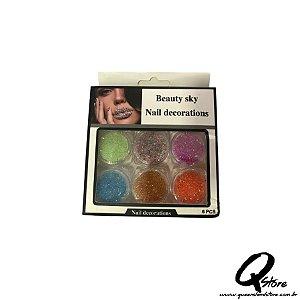 Kit Beauty Sky - Unha 6 Potinhos -Mod 2