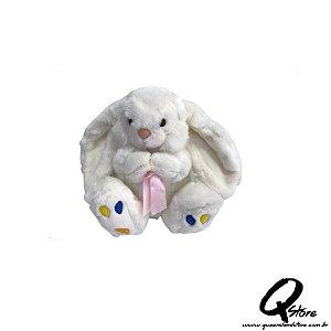 Coelho Sentado Luxo Branco Pelúcia - 24 cm
