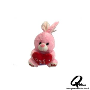 Coelho Coração Te amo Rosa Pelúcia - 22 cm