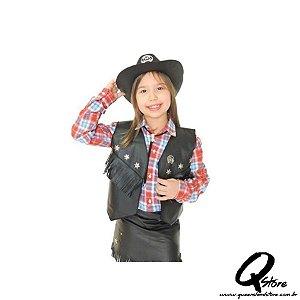 Colete cowboy Country Infantil Preto