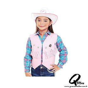 Colete cowboy Country Infantil Rosa