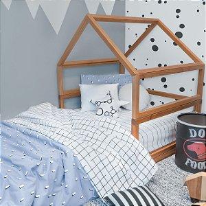 Kit cama Pontinhos Azul (Júnior ou solteiro)